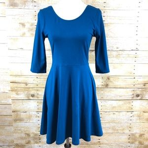 Express 3/4 Sleeve Fit and Flare Dress Sz M